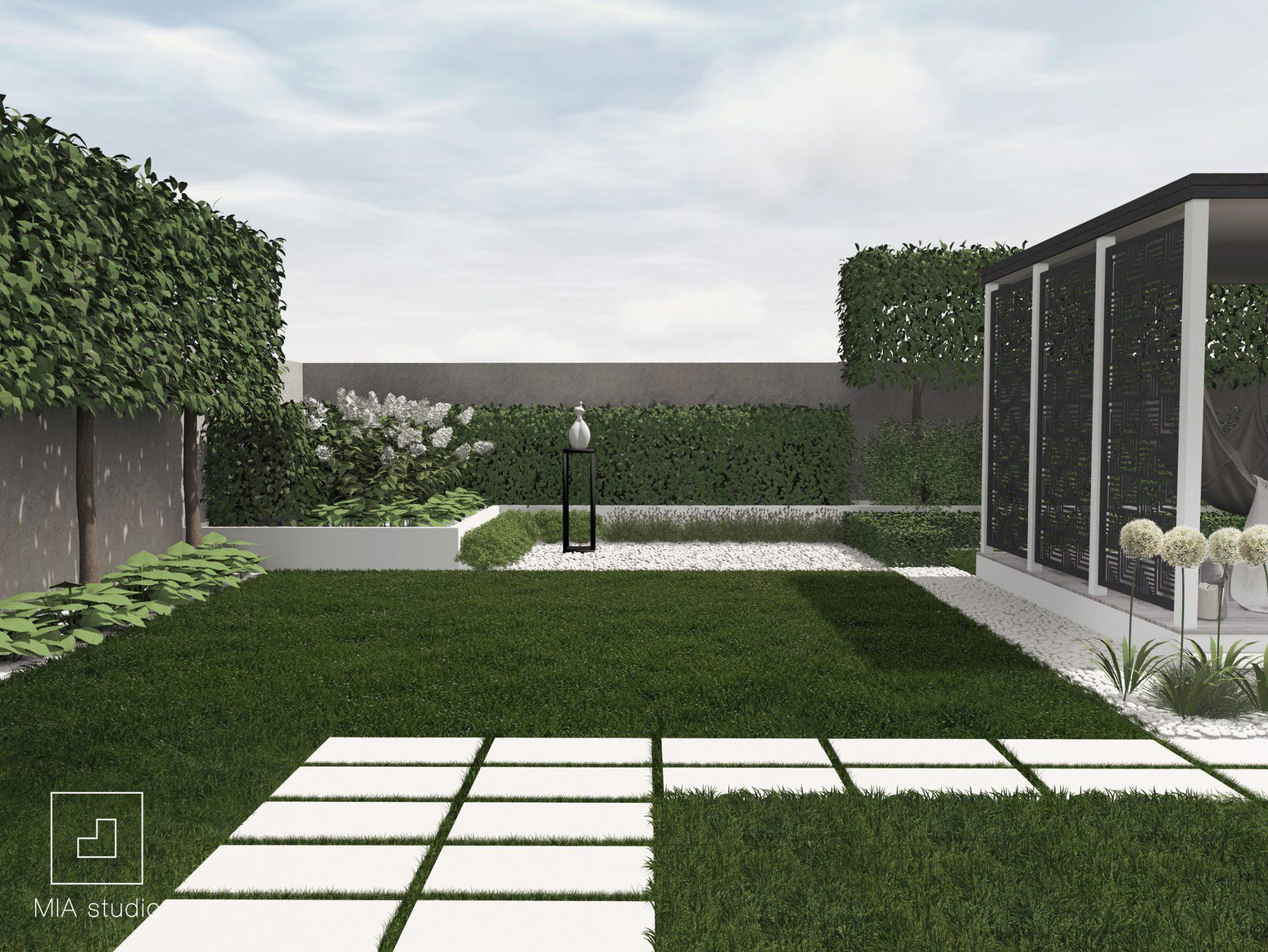 ścieżka z białych płyt betonowych ogród nowoczesny Poznań