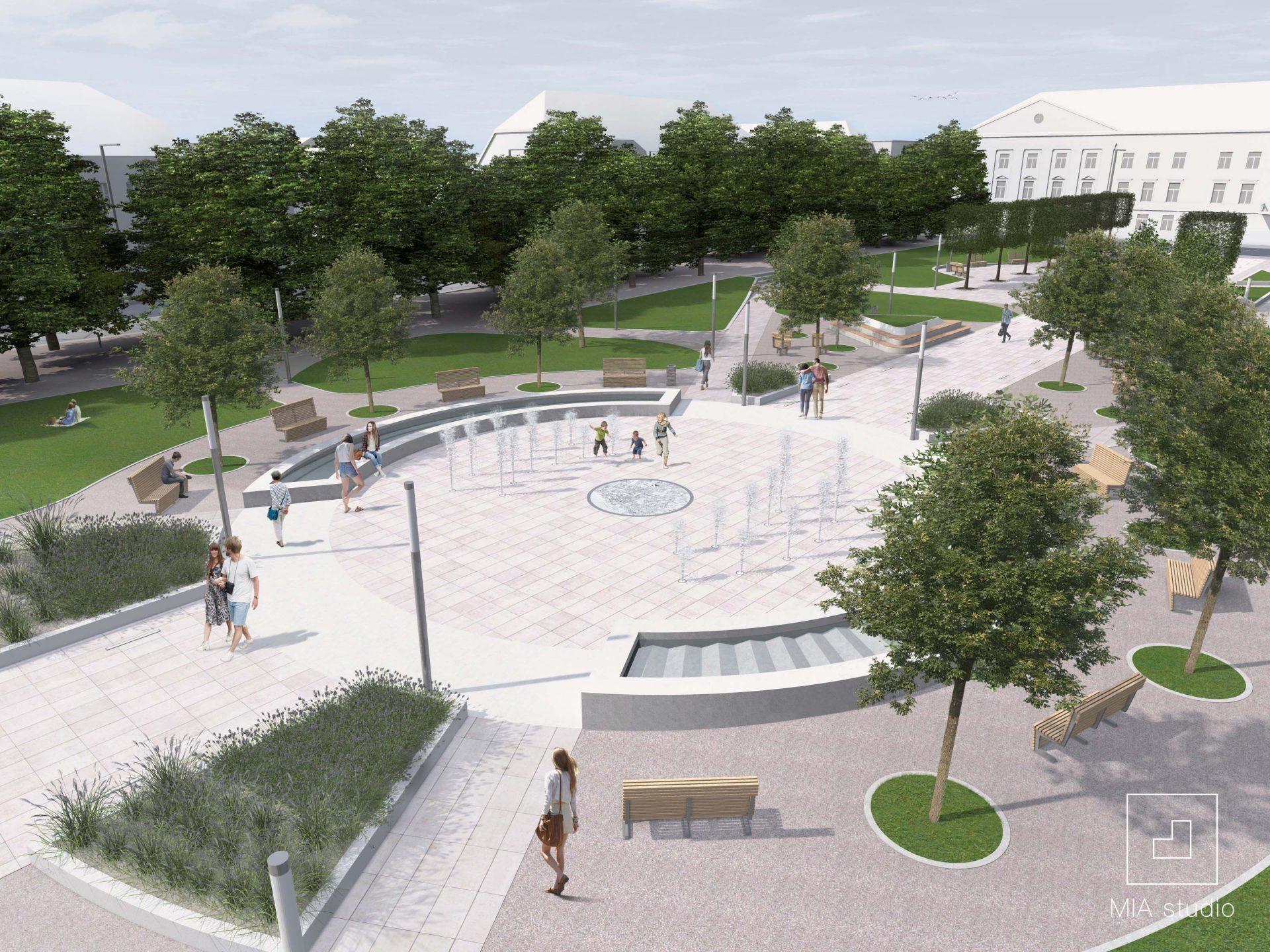 plac publiczny z fontanną