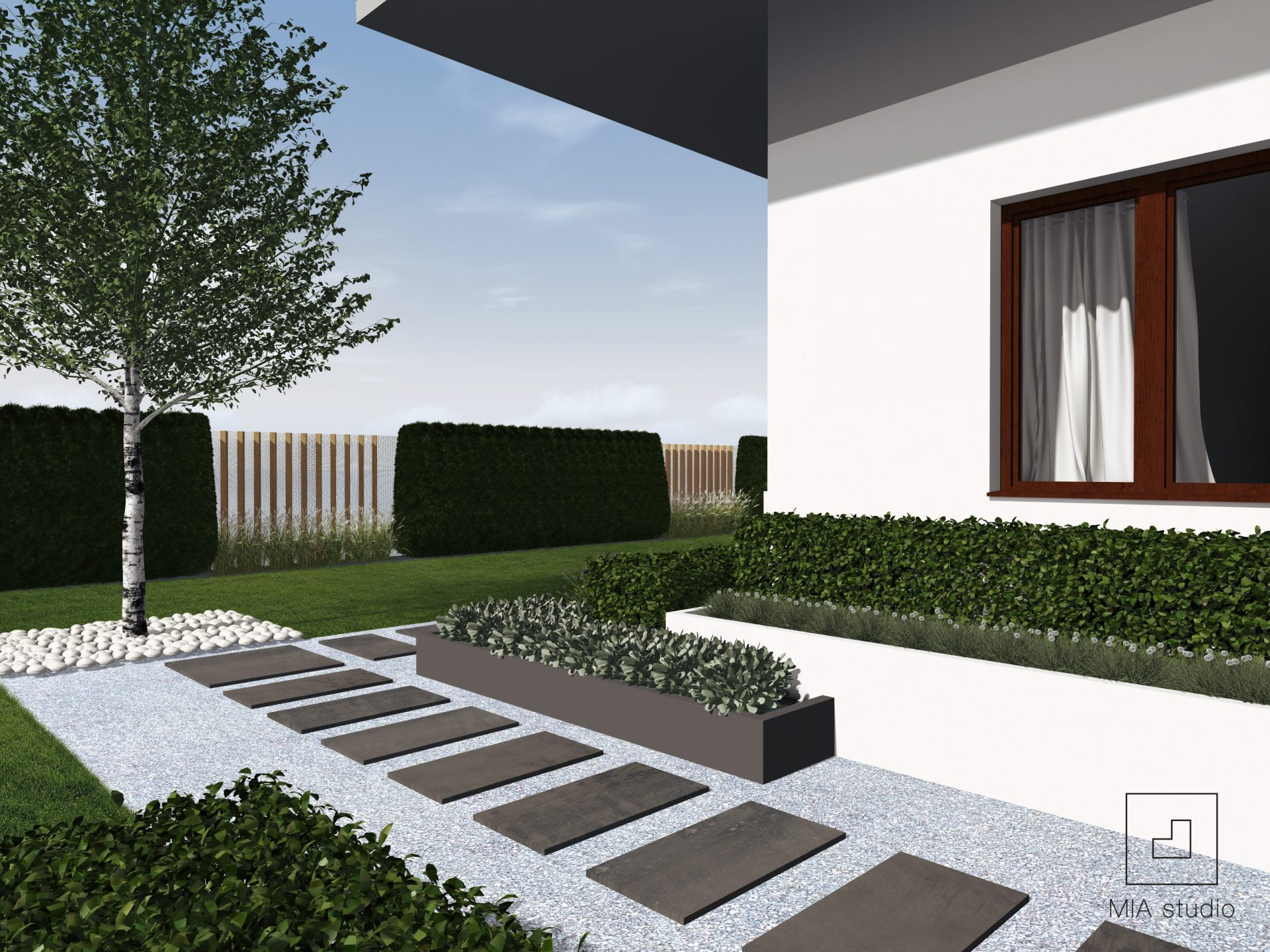 betonowe donice w ogrodzie