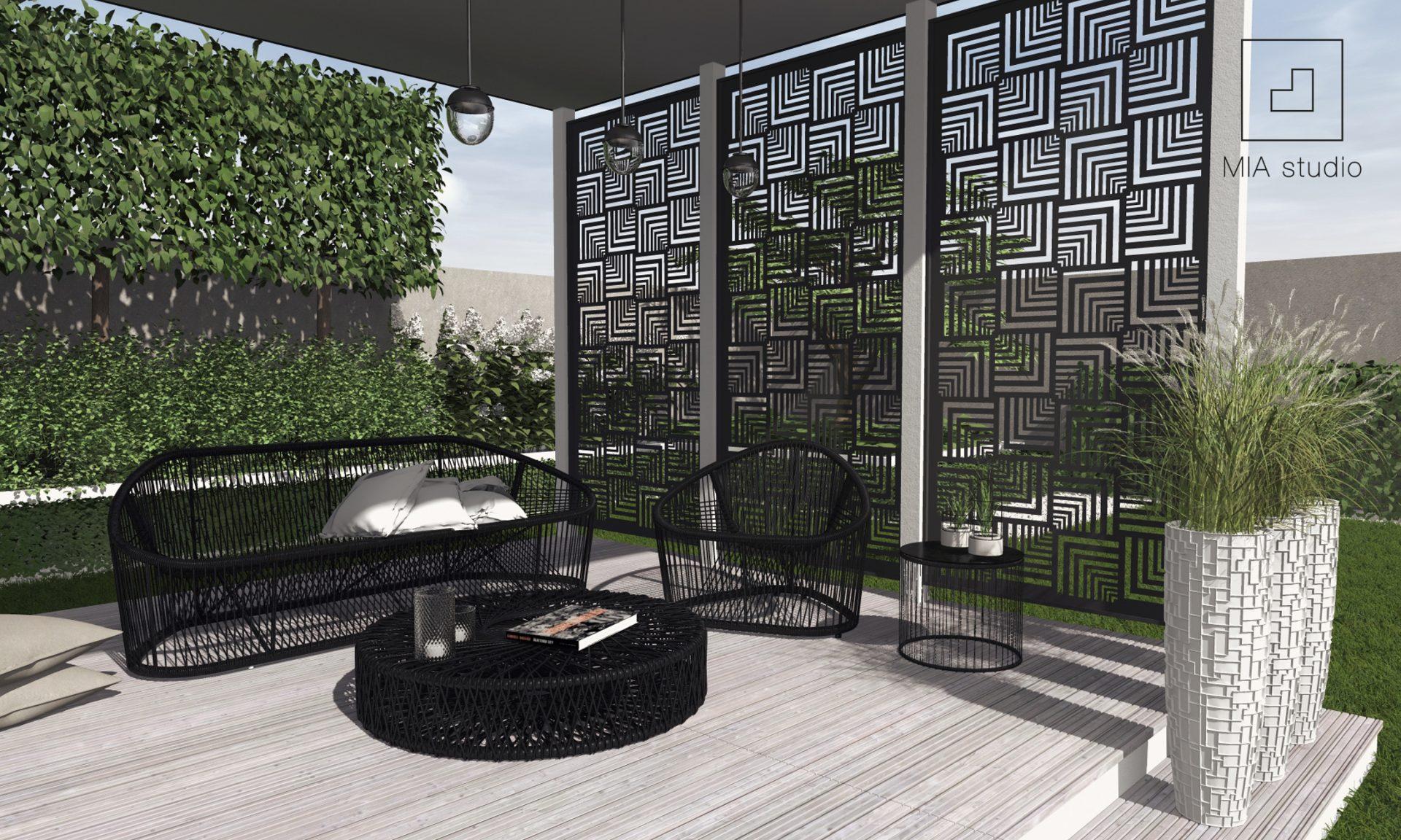 nowoczesna altana z panelami dekoracyjnymi