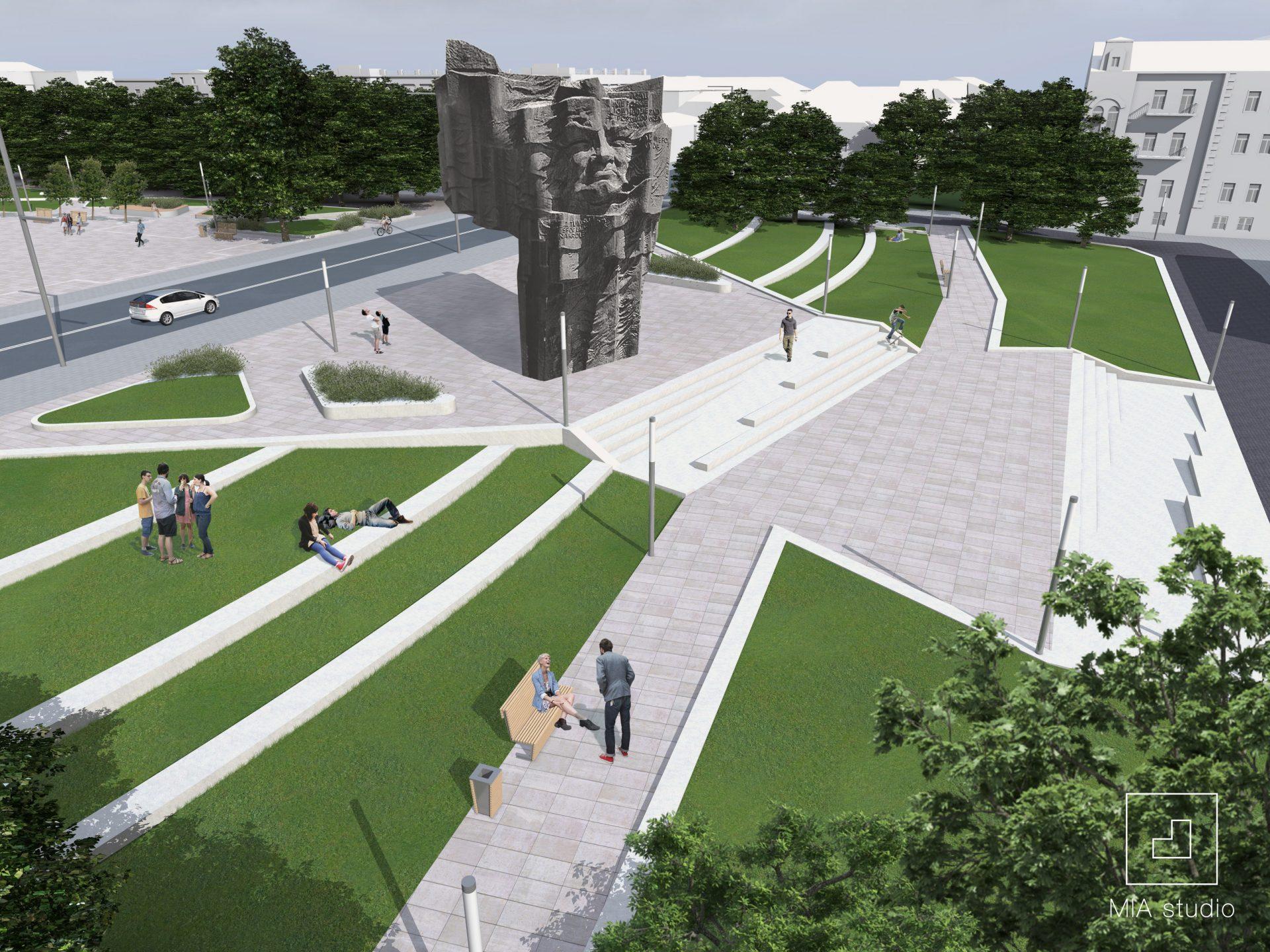 otoczenie pomnika z zielonymi tarasami