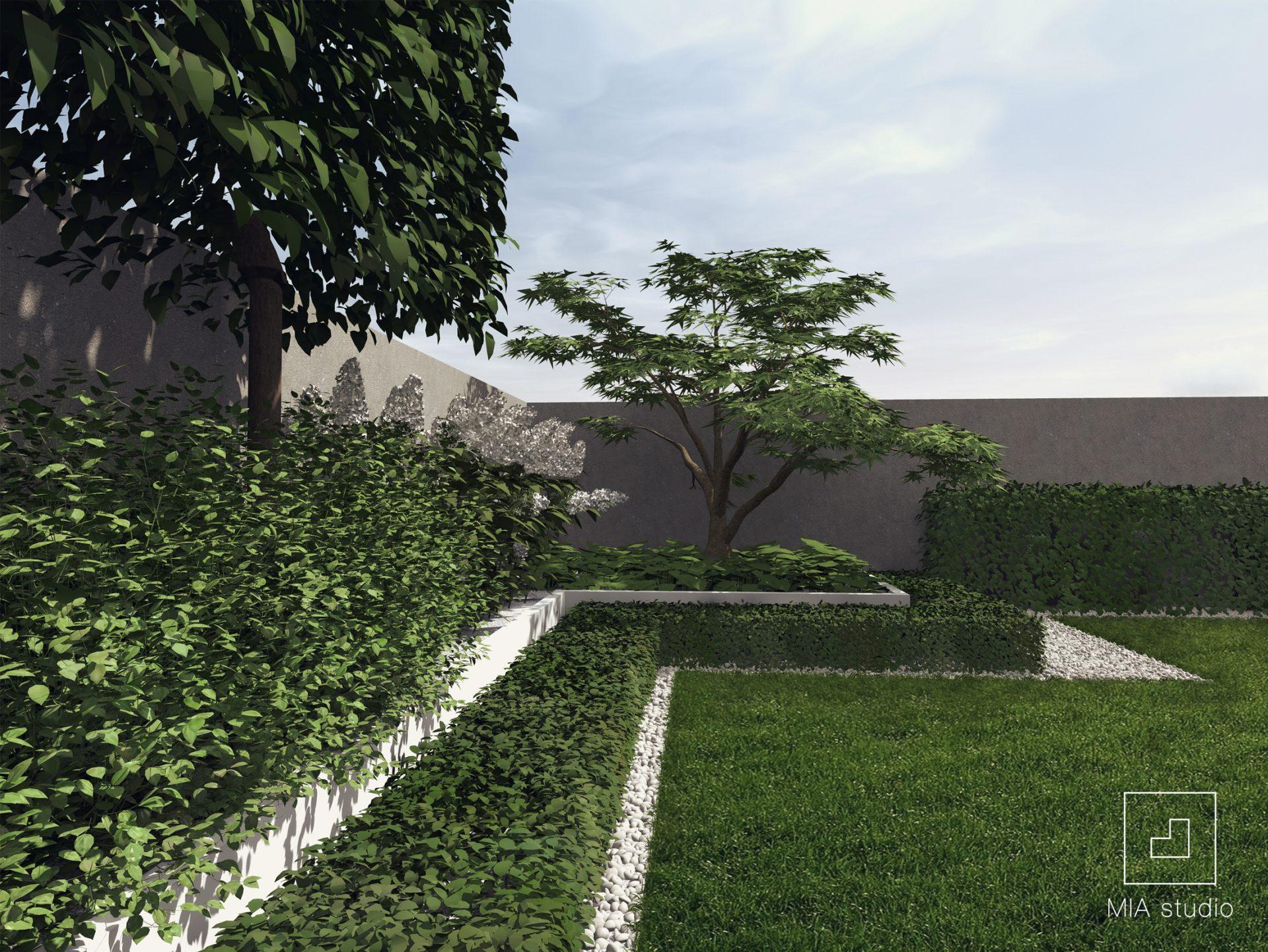 ogród z białymi donicami Poznań