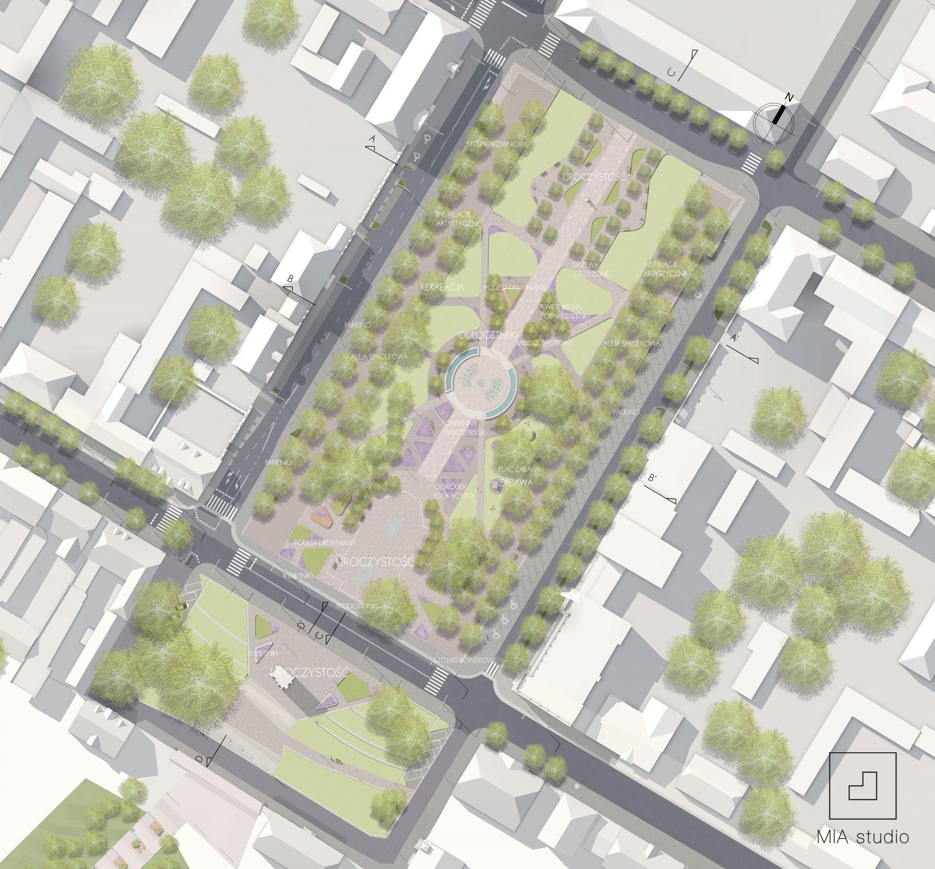 projekt parku z placem publicznym