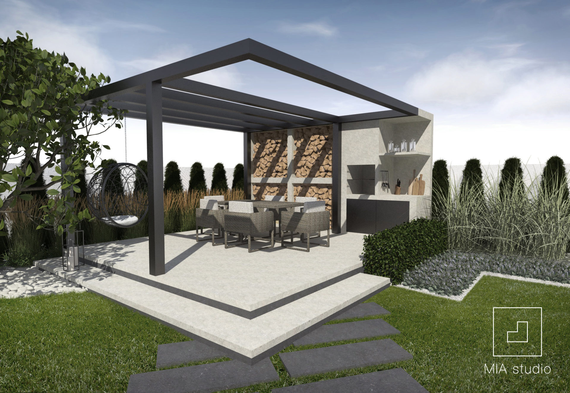 nowoczesna altana z grillem