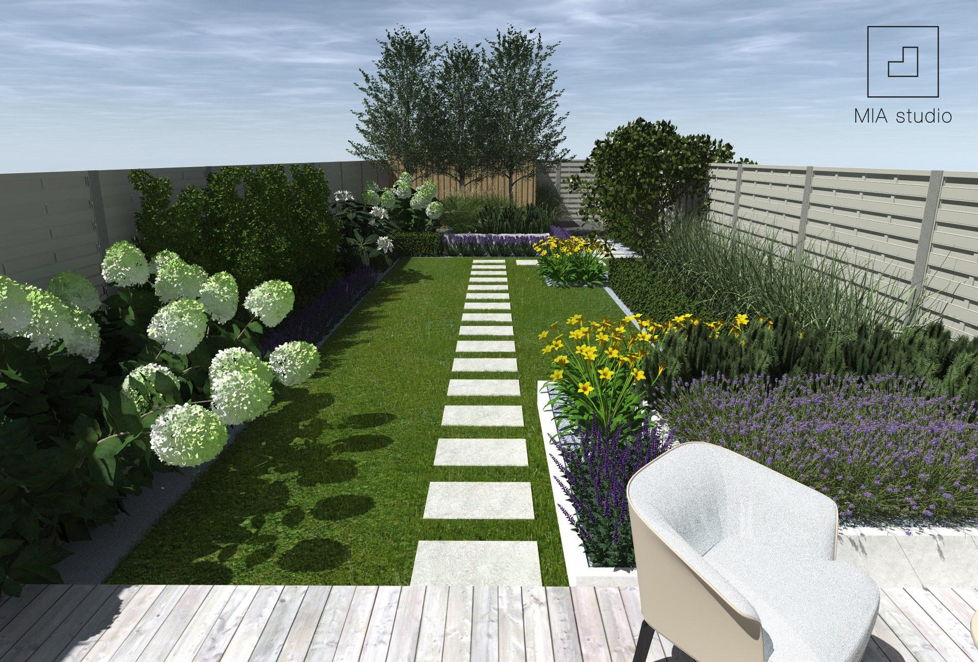 długi wąski ogród