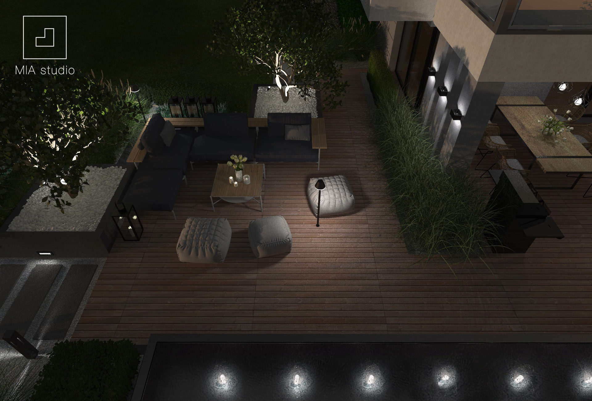 oświetlenie nowoczesnego tarasu