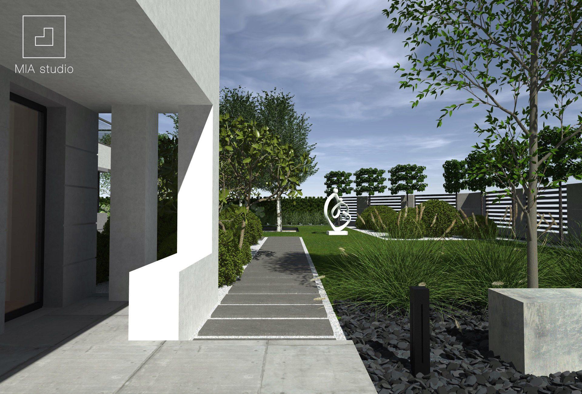 ogród minimalistyczny z rzeźbą
