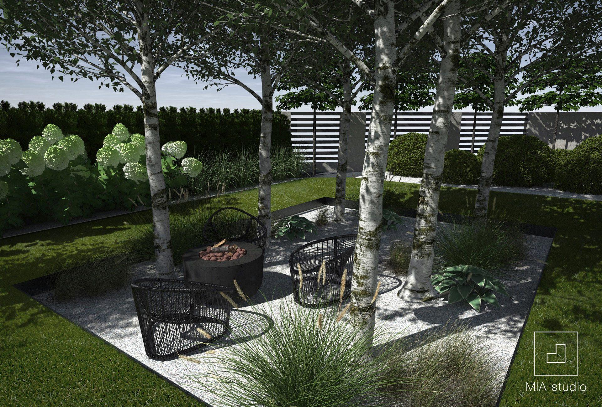 zagajnik brzozowy w ogrodzie