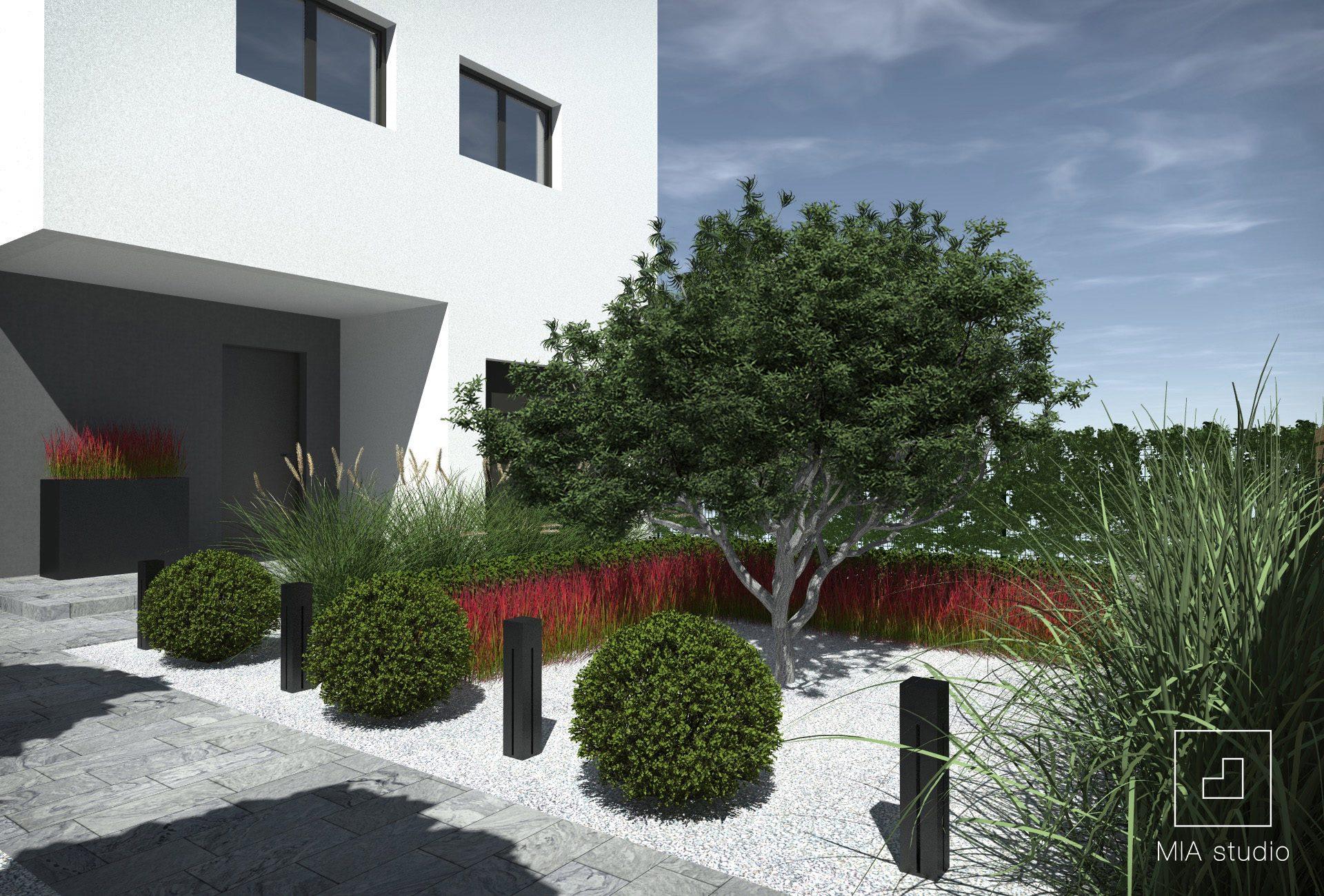 ogród geometryczny przed domem