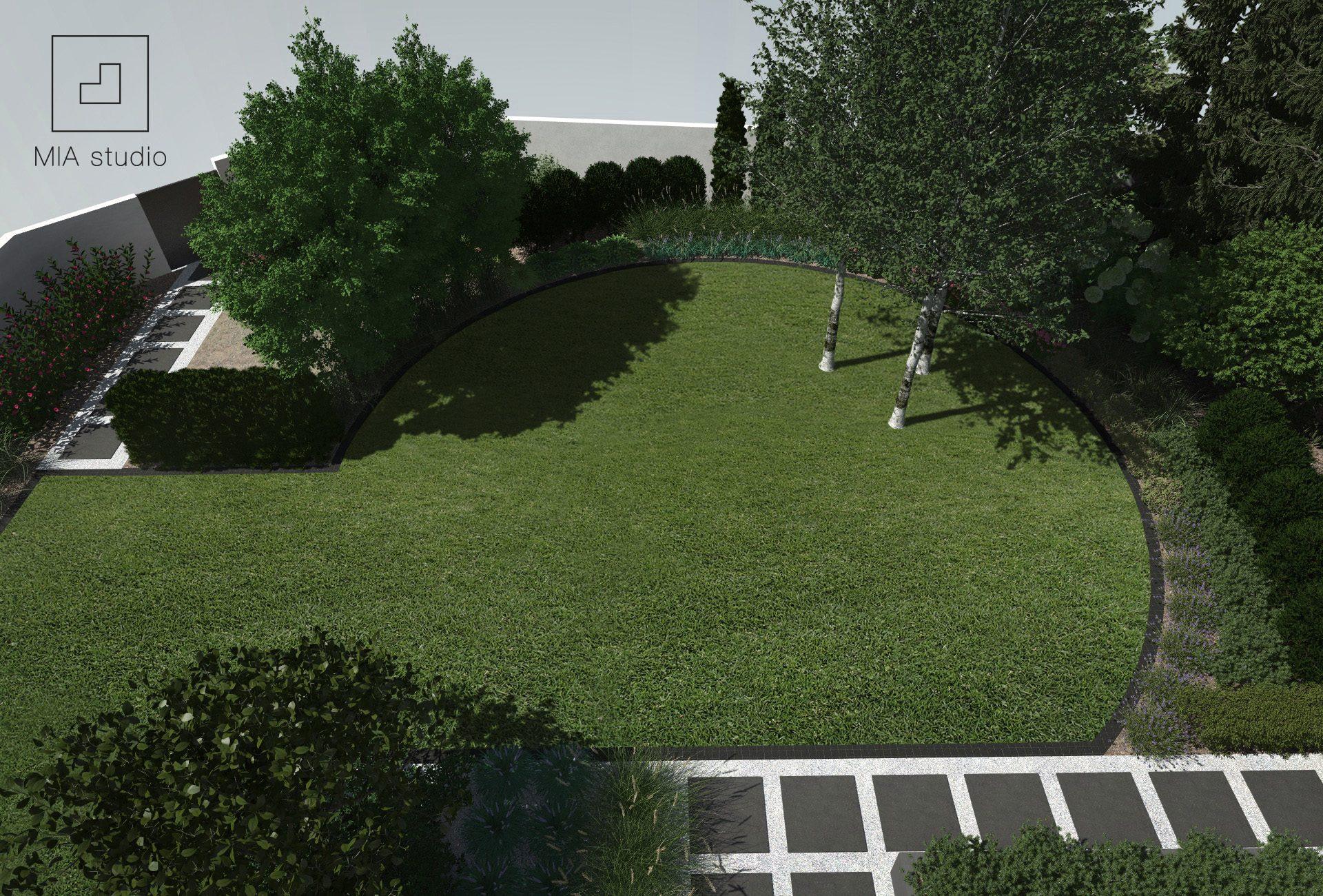 ogród z okrągłym trawnikiem