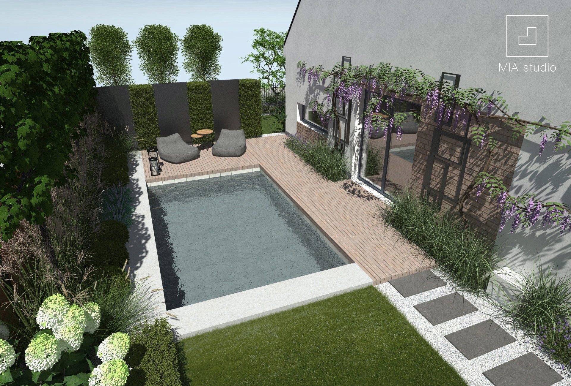 mały ogród z basenem