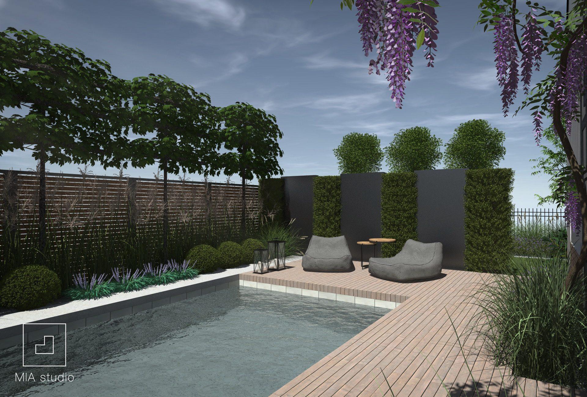 nowoczesny ogród śródziemnomorski