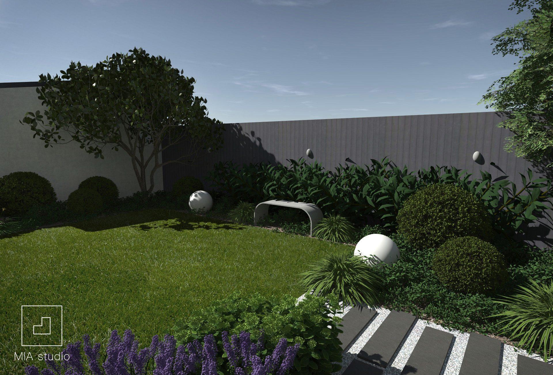 betonowa ławka w ogrodzie
