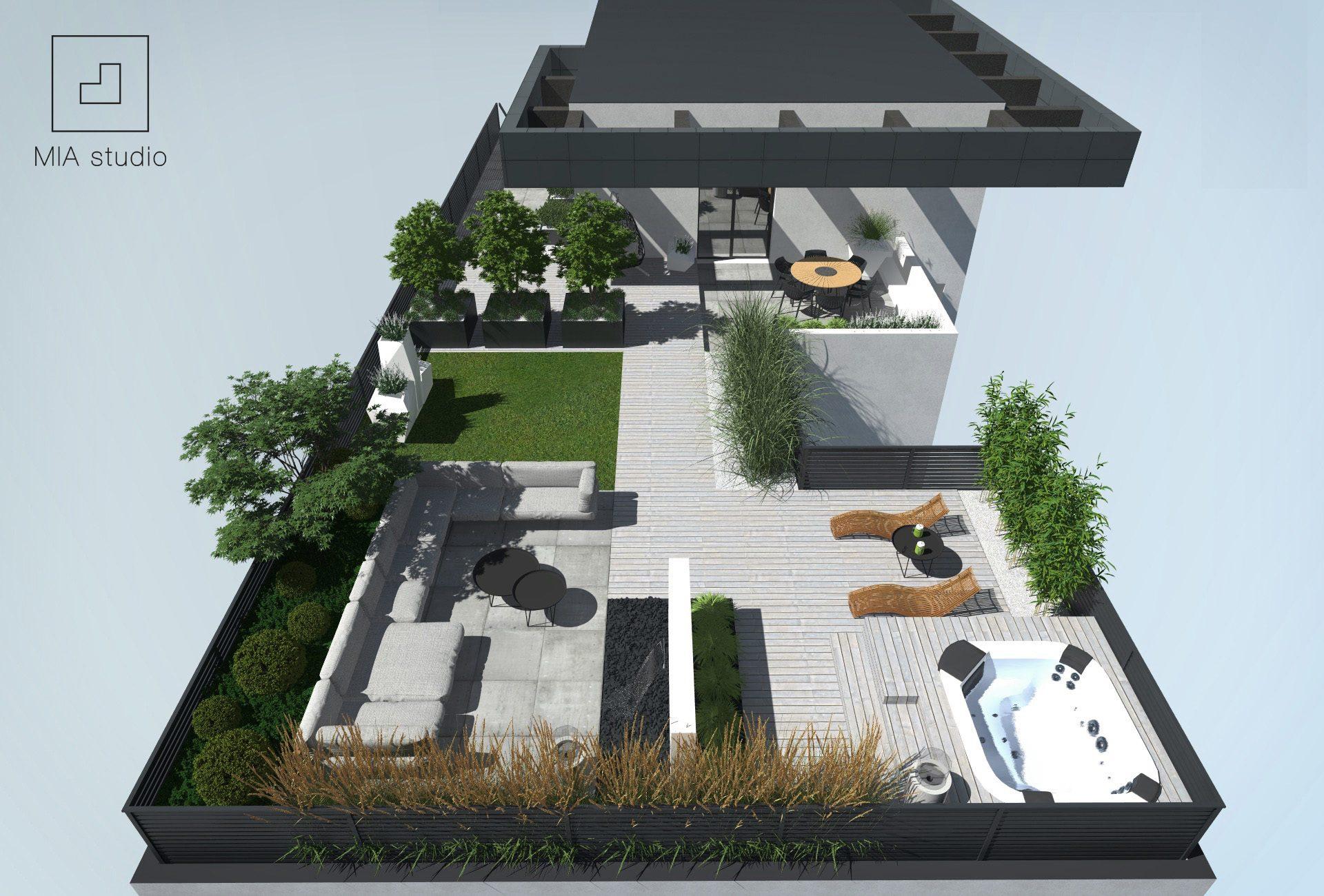 nowoczesny taras na dachu
