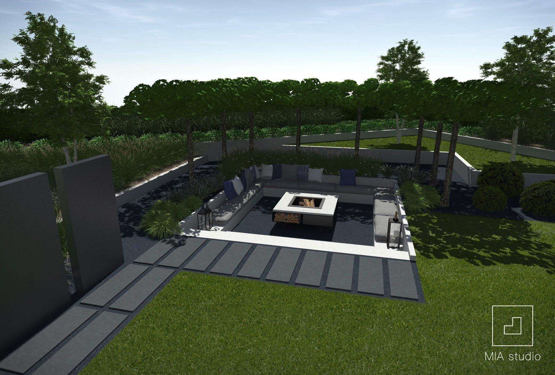 ogród z paleniskiem