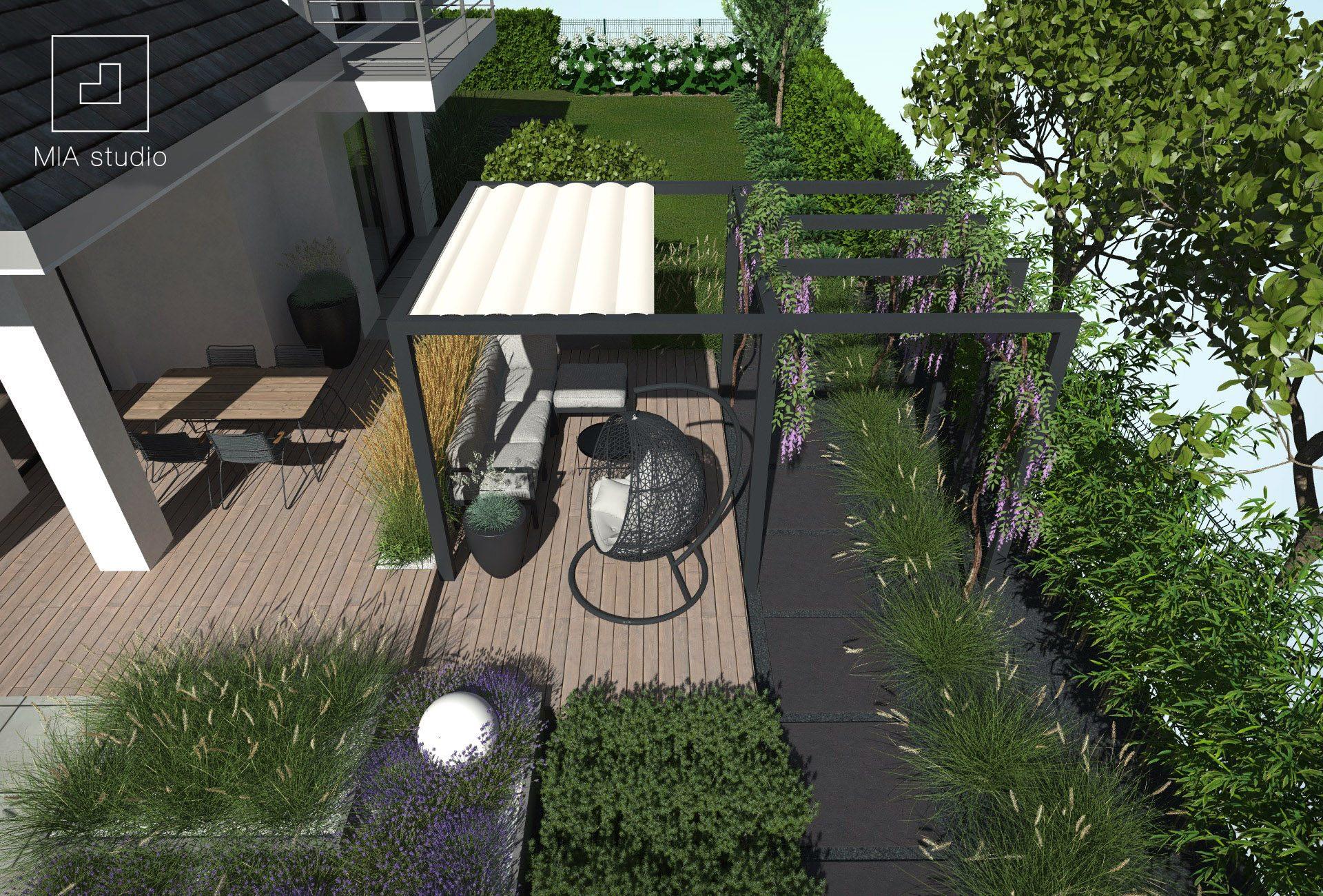 nowoczesna pergola w ogrodzie
