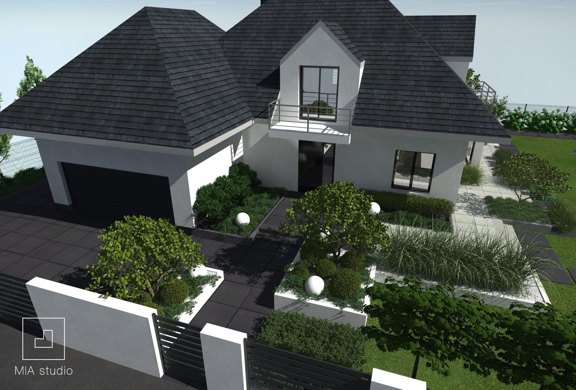 ogród nowoczesny przed domem