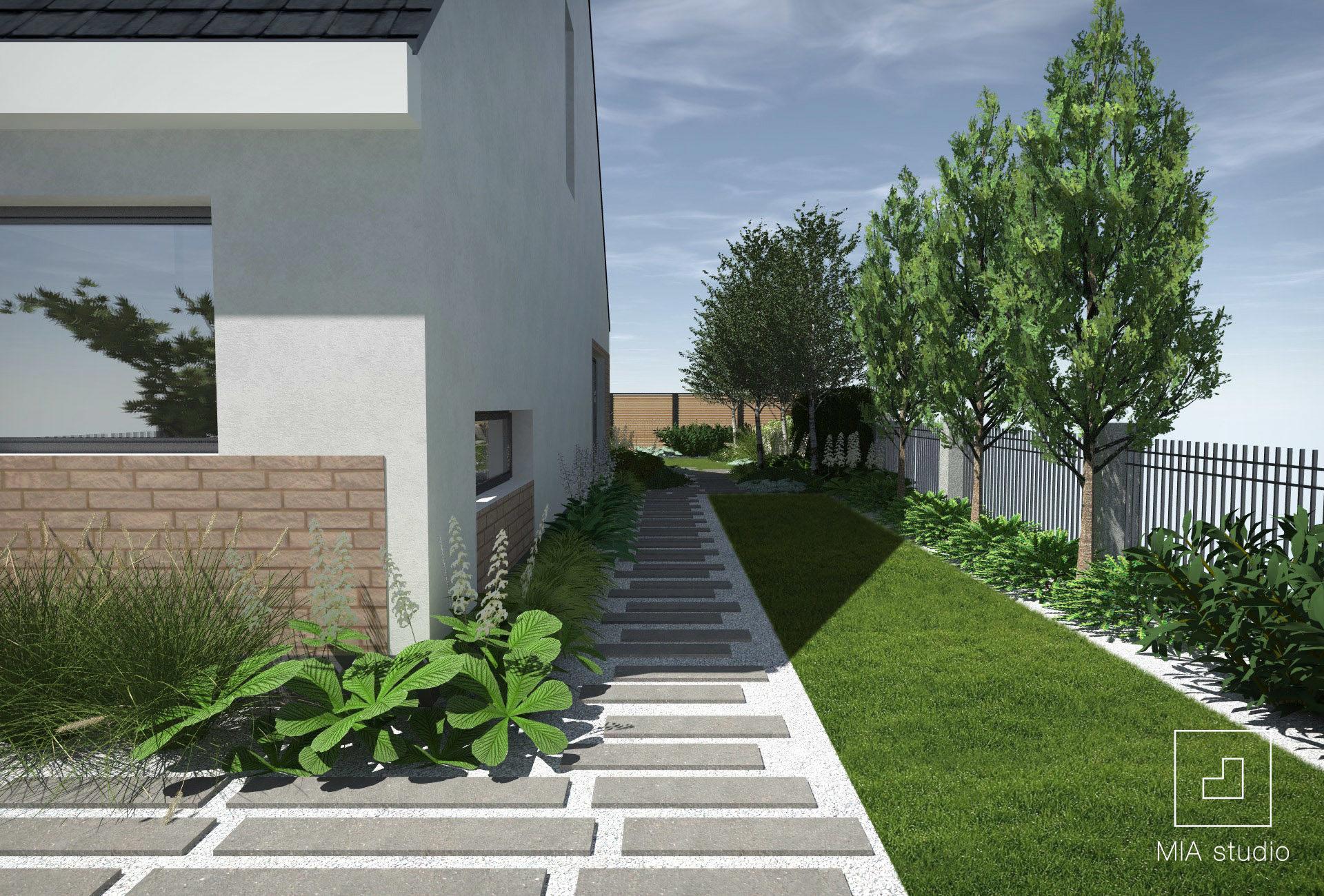 ścieżka w ogrodzie z płyt betonowych