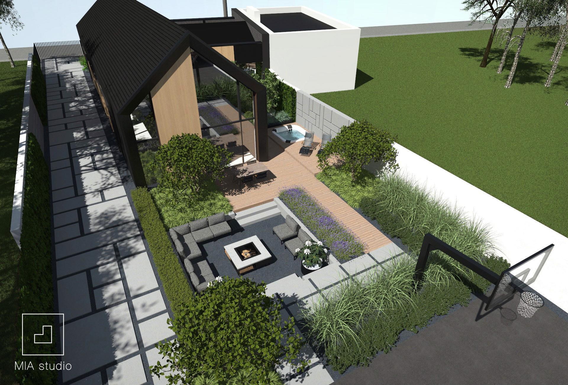 ogród przy domu nowoczesna stodoła