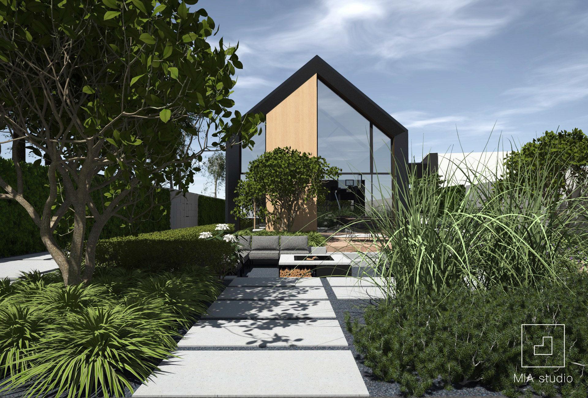 ogród przy nowoczesnej stodole