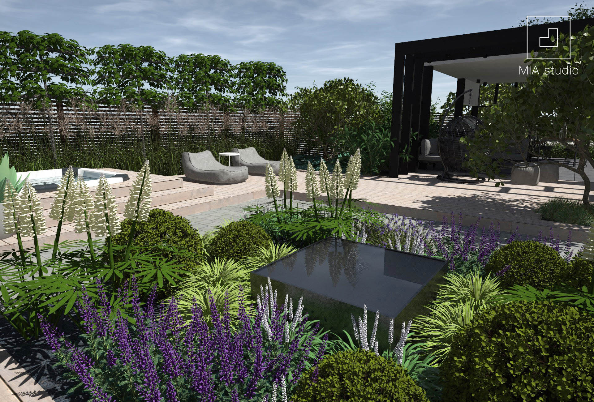 nowoczesna fontanna w ogrodzie