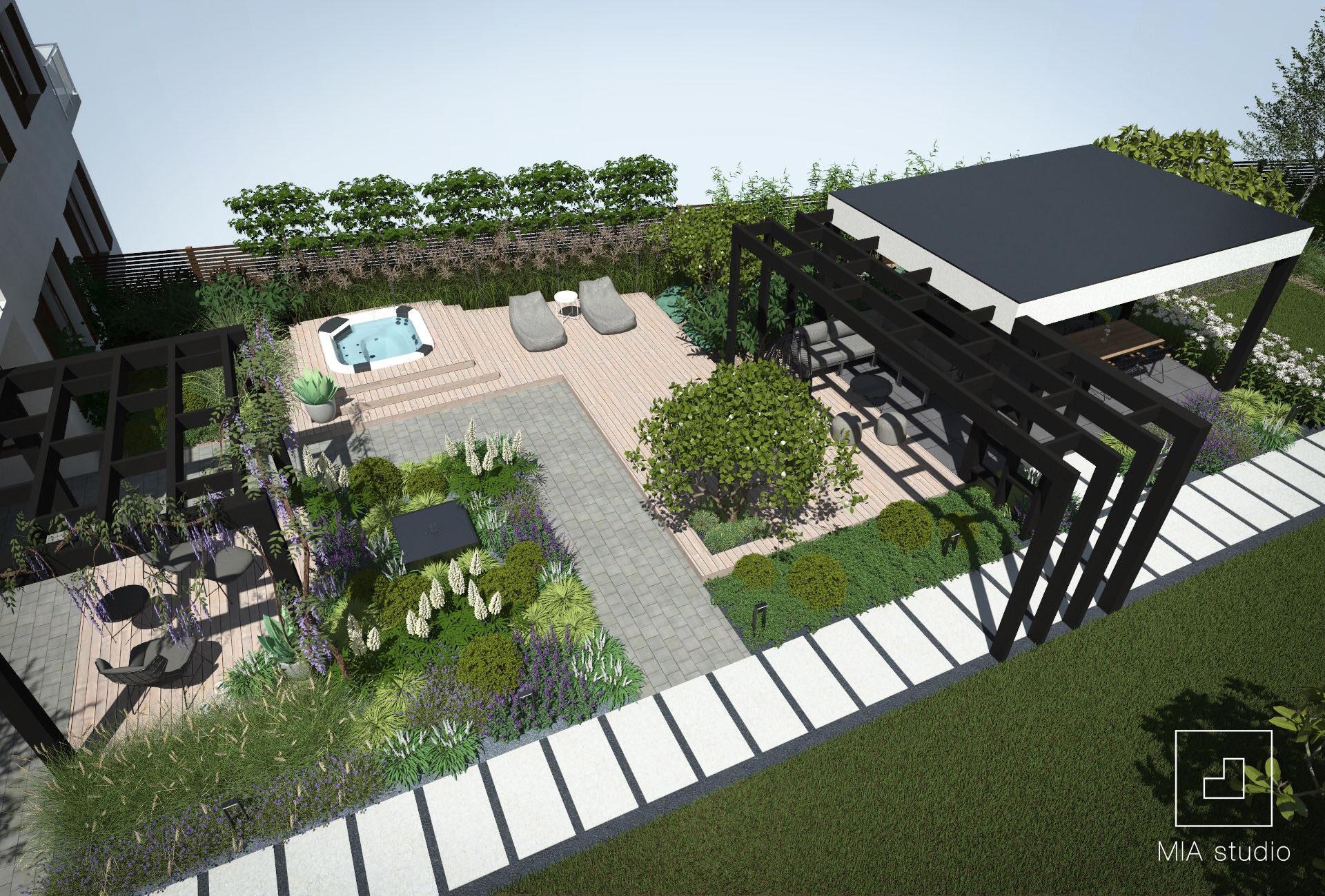 ogród z altaną i jacuzzi