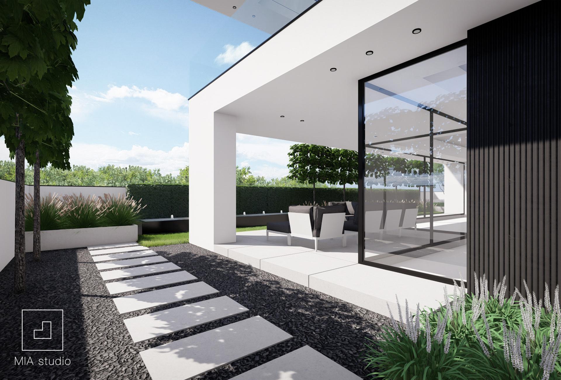 mały ogród minimalistyczny