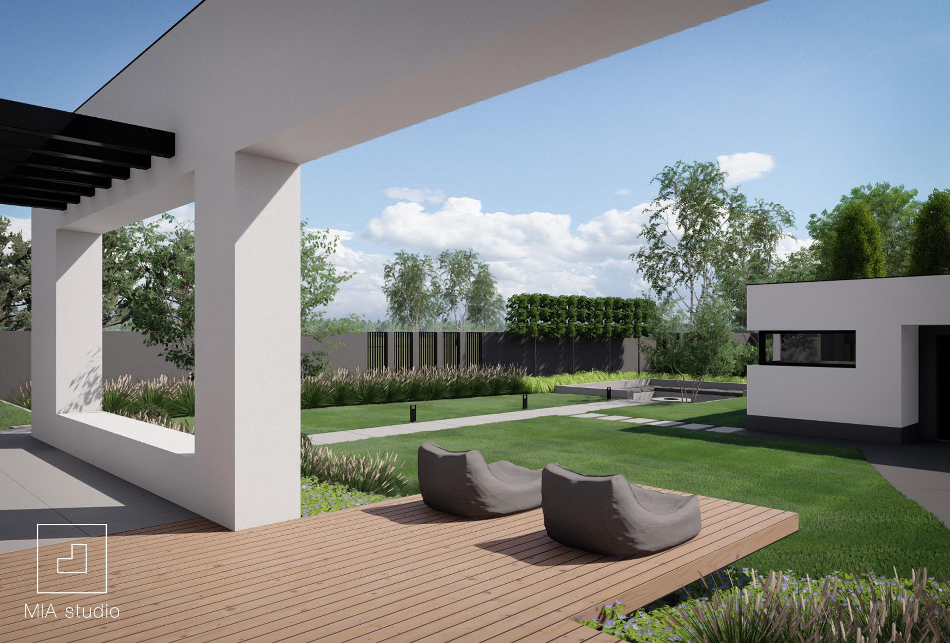 taras w ogrodzie nowoczesnym