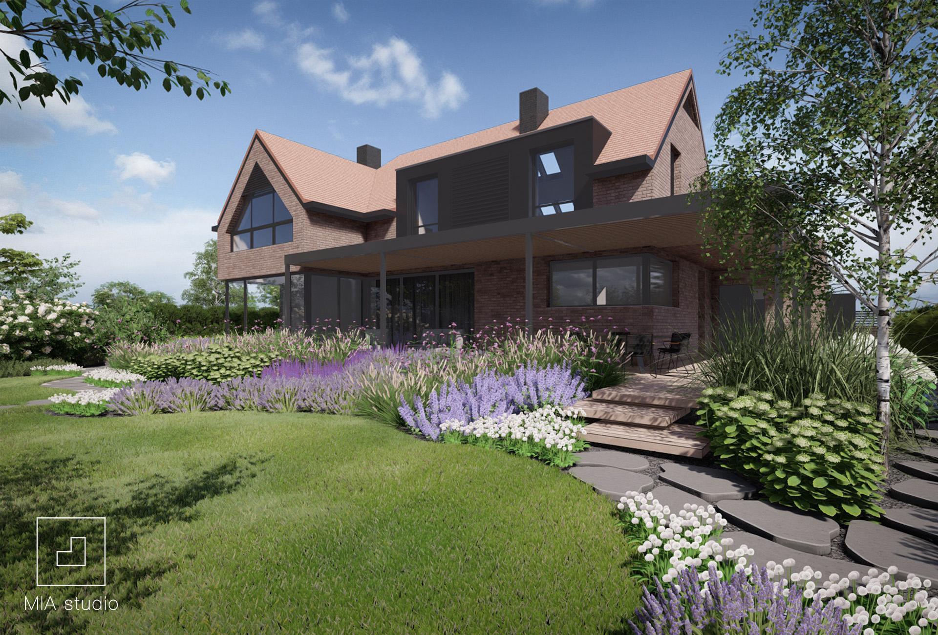 ogród przy nowoczesnym domu z cegły