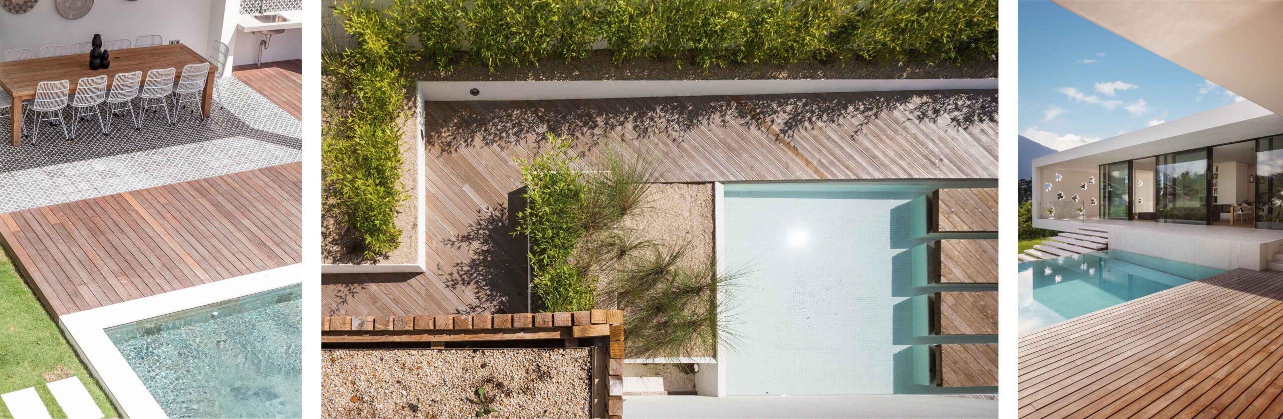 taras drewniany przy basenie
